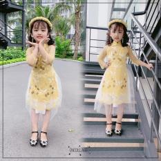 ÁO DÀI CÁCH TÂN TRẺ EM(17-30kg) HOA ĐÀO kèm mấn,bao chất thời trang và phong cách cho bé gái-LOZIKIDS