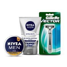 Bộ sản phẩm NIVEA MEN (Kem dưỡng 3in1 83923 30ml + Sữa rửa mặt bùn khoáng sáng da 81775 100g) + Tặng dao cạo Gillette