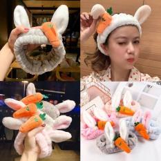 Băng Đô Turban 3D Cà Rốt Tai Thỏ Vải Nhung Xinh Xắn