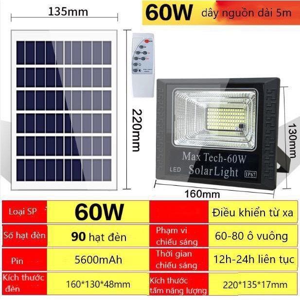 ĐÈN NĂNG LƯỢNG MẶT TRỜI 60W - 45W MAX TECH SOLAR LIGHT - ĐIỀU KHIỂN TỪ XA - PIN SẠC...