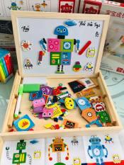 Bộ đồ chơi ghép hình bằng gỗ cho bé | Đồ chơi gỗ nhập khẩu ghép hình | Bảng tranh ghép nam châm 12 con vật và robot cho bé lắp ráp sáng tạo
