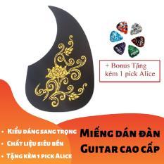 [RẺ GIẬT MÌNH] Miếng dán cao cấp trang trí, bảo vệ đàn Ghi-ta 3D Hoa sen vàng bạc (Guitar PickGuard) – Tặng kèm 1 pick Alice