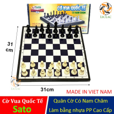 Bộ đồ chơi Cờ Vua Quốc Tế Sato ( Có Nam Châm ), Bộ cờ vua kèm bàn cờ loại Cao Cấp – LICLAC