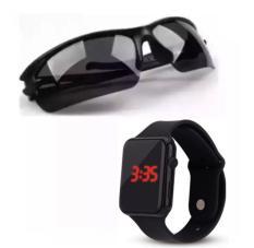 Kính phân cực nhìn xuyên đêm kiểu quân (đen) + Tặng Đồng hồ led silicon (Đen)
