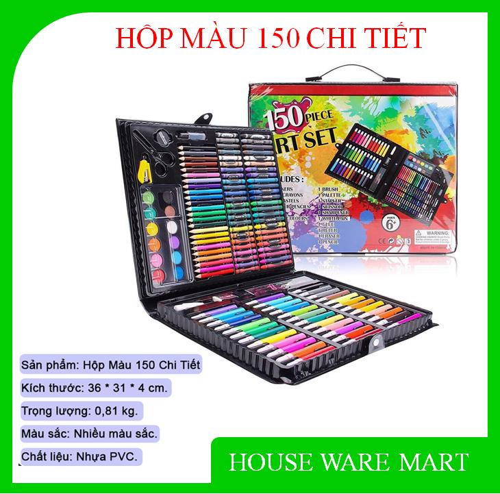 Hộp bút màu 150 chi tiết cho bé thỏa sức sáng tạo, màu sắc đa dạng, bao bì đẹp mắt, chất màu tốt, không độc hại