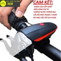 Đèn xe đạp có còi sạc usb chống nước, đèn xe đạp thể thao nhiều màu sắc 7588
