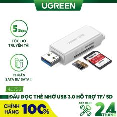 [Nhập ELMAY21 giảm thêm 10% đơn từ 99k] Đầu đọc thẻ nhớ USB 3.0 hỗ trợ thẻ TF/SD UGREEN CM104 – Hãng phân phối chính thức