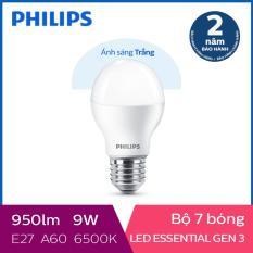 Bộ 7 Bóng đèn Philips LED Essential Gen3 9W 6500K E27 A60 (Ánh sáng trắng)