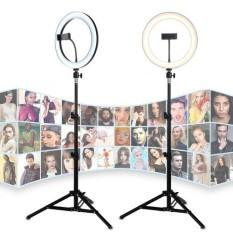 Bộ đèn livestream 33cm chuyên dụng, 3 nguồn ánh sáng trắng, tự nhiên, vàng, Thân hợp kim chắc chắn cao 2m tùy chỉnh độ cao