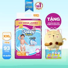[TẶNG MÈO BÔNG và THÊM 2 MIẾNG XXXL] Tã/bỉm quần Bobby đệm lưng thấm mồ hôi Mega Jumbo XXL93 (trên 17kg) – 93 miếng