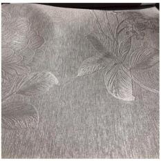 Rèm vải trang trí (có sẵn khoen) – hoa văn dày màu xám sáng