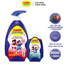 Combo Sữa Tắm Gội Sạch Khuẩn Carrie Junior BacBuster: Strawberry 700g + Blueberry 280g