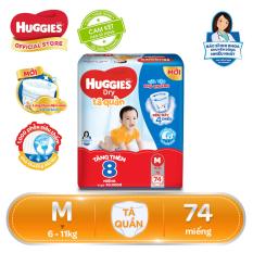 [Tặng thêm 8 miếng trong gói] Tã/bỉm quần Huggies Dry Pants Super Jumbo M74 – Gói 74 miếng (Cho bé 6kg-11kg)