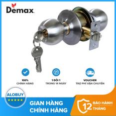 Khóa cửa tay nắm tròn Demax LK301 SS loại tốt, Thép không gỉ SUS 304, Hợp kim kẽm, Bảo hành chính hãng 01 năm