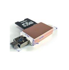 Đầu đọc thẻ nhớ Adapter OTG MPK-OTG-FIVE dùng cho iOS – Android – PC- Macbook (Vàng đồng)