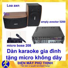 Dàn karaoke gia đình Dàn karaoke gia đình hay, Dàn karaoke giá rẻ COMBO CẶP LOA NPN VÀ AMPLY KARAOKE AVECTOR 5200 TẶNG 2 MICRO KHÔNG DÂY – 10M DÂY LOA – USB BLUETOOTH