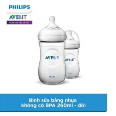 Bình sữa Philips Avent bằng nhựa không có BPA 260ml – đôi (SCF693/23)