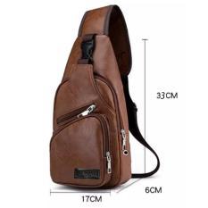 Túi đeo chéo nam da cao cấp 4 ngăn (Nâu Bò) TNN