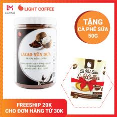 [TẶNG CÀ PHÊ SỮA] Bột cacao sữa Dừa cao cấp Light Cacao đậm đà thơm ngon, dùng pha uống liền, pha chế tiện lợi, dạng hũ dễ bảo quản, đặc biệt không pha trộn hương liệu – Hũ 550g