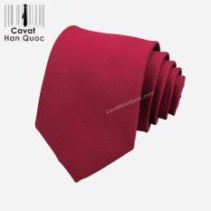 Cà vạt đỏ mận tươi gân tăm cao cấp A392