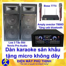 Dàn karaoke sân khấu karaoke gia đình Loa 3 tấc đôi nỉ novio pro audio và amply karaoke avector 7800d kèm bộ micro bs 777ii