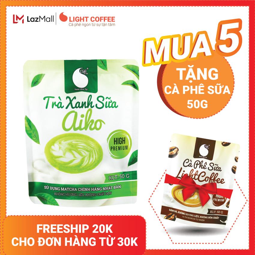 [MUA 5 TẶNG CÀ PHÊ SỮA] Bột trà xanh hòa tan sữa 3 in 1 Aiko Light Coffee thơm ngon,...
