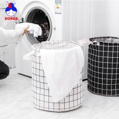 (MỚI) Giỏ, túi vải đựng đồ giặt họa tiết caro có thể gấp gọn GIA DỤNG KOREA