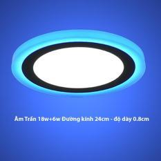 Đèn Led Âm trần 24w tròn 2 màu 3 chế độ ánh sáng trắng xanh dương