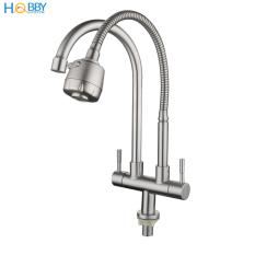 Vòi rửa chén 2 đầu lạnh lò xo có vòi tăng áp 2 chế độ phun HOBBY Home Decor LX2D chuẩn Inox 304 – 2 kiểu dáng