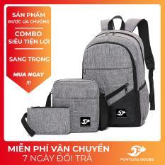 COMBO: Balo đi học , đi làm đựng Laptop 15,6inch + Túi đeo chéo ipad + Bóp bút vải bố xước cao cấp Fortune Mouse B001 (LOẠI ĐẸP)