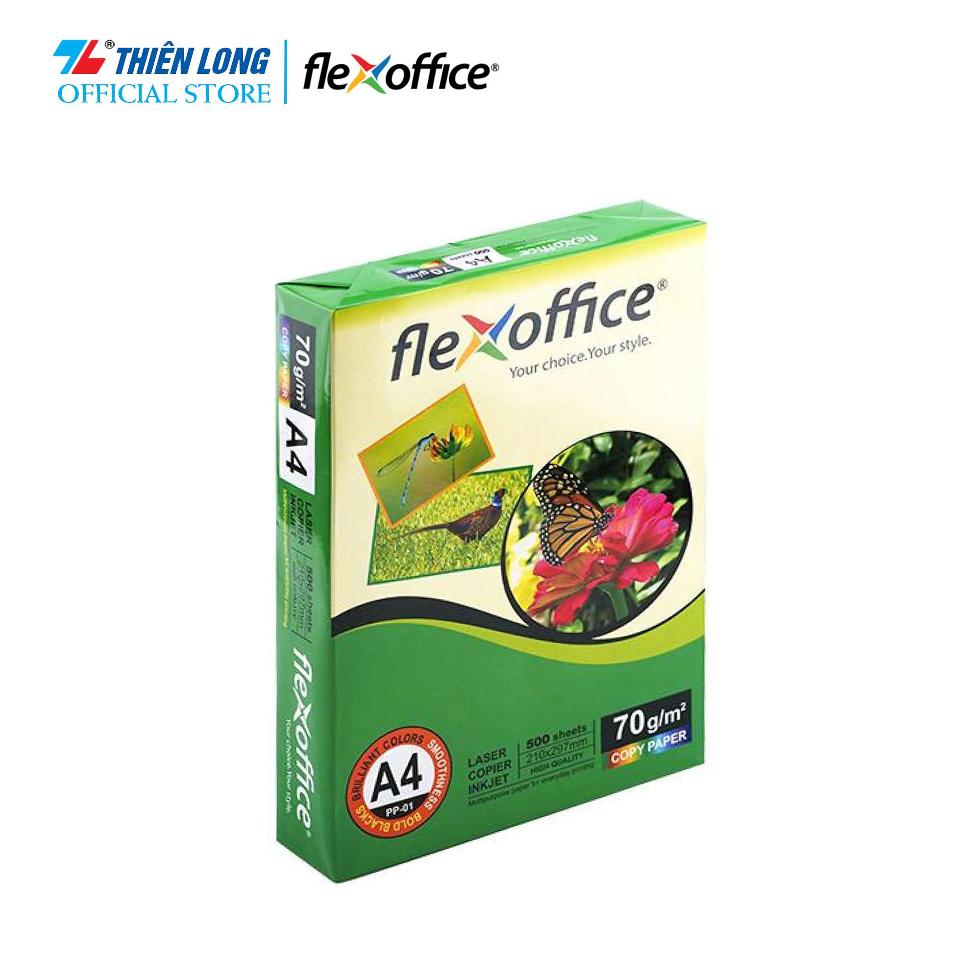 Giấy Flexoffice A4/70 PP-01 (500 tờ/ream), Chất Lượng Cao, Bề Mặt Nhẵn Tuyệt Vời, Mau Khô Mực, Thích Hợp Với Nhiều Loại Máy In, Photocopy