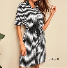 QG857 -Đầm suông kẻ sọc thiết kế *40-90kg