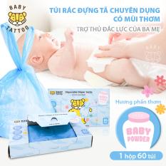 BABY TATTOO Túi Rác Đựng Tã Bỉm Chuyên Dụng Hương Phấn Thơm, Hộp 60 Túi
