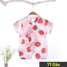 Áo liền quần cho bé Body kimono Body hè cho bé chất thun cotton ngắn tay Hàng Quảng châu xuất Nhật YKT02YKT02-Dâu-66 5-7kg,.
