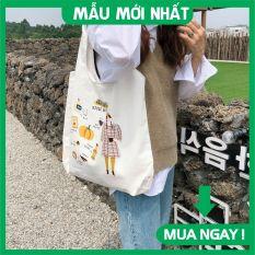 Túi tote, Túi vải canvas đựng đồ phong cách Hàn Quốc sozakka đi học đi chơi đi làm