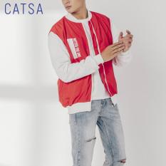 CATSA Bomber jacket đỏ trắng AKB034