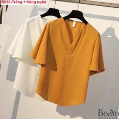 B635-Áo Sơ Mi Nữ cổ V tay loe Sang trọng Beayo