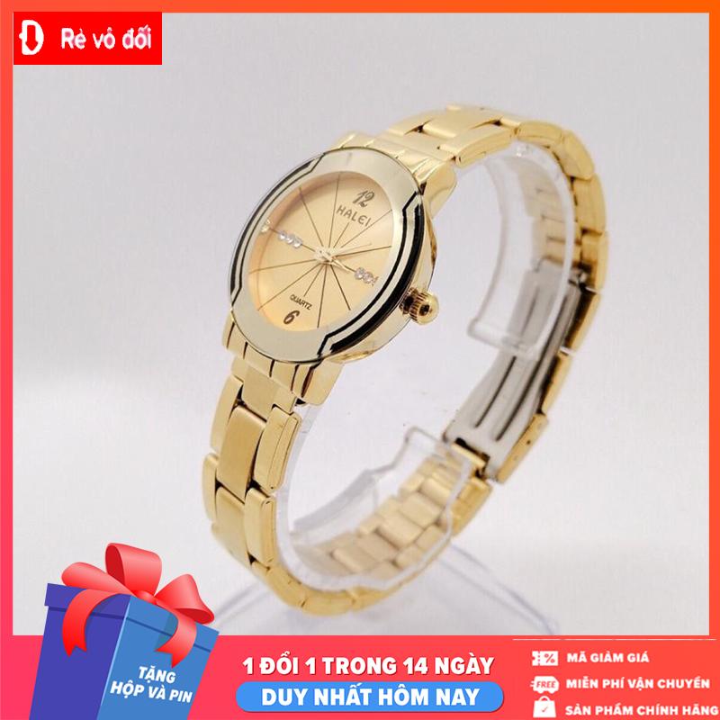 Đồng hồ nữ mặt tròn Halei dây kim loại,chống nước ,chống xước tuyệt đối, sang trọng lịch lãm – Tặng kèm hộp và Pin – Sam's Shop