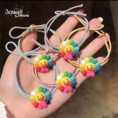 Set 5 dây thun buộc tóc Hàn Quốc dễ thương phối hình Hoa Hướng Dương đủ màu