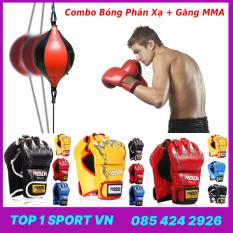 Combo bóng phản xạ luyện tốc độ Wubotiyu + Găng đấm bốc MMA boxing Walon hở ngón – Bảo hành 6 tháng