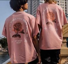 Áo Cặp – Áo thun nam nữ form rộng Hàn Quốc in Hình Hoa Hồng độc đẹp, vải dày mịn mát, đường may sắc sảo, không phai màu, không dính giặt