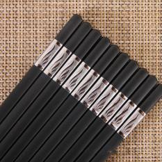 Bộ 10 đôi đũa nhựa nhật bản hàn quốc dùng ăn cơm cao cấp khảm vàng chịu nhiệt chống trơn tốt hơn đũa gỗ phụ kiện bàn ăn
