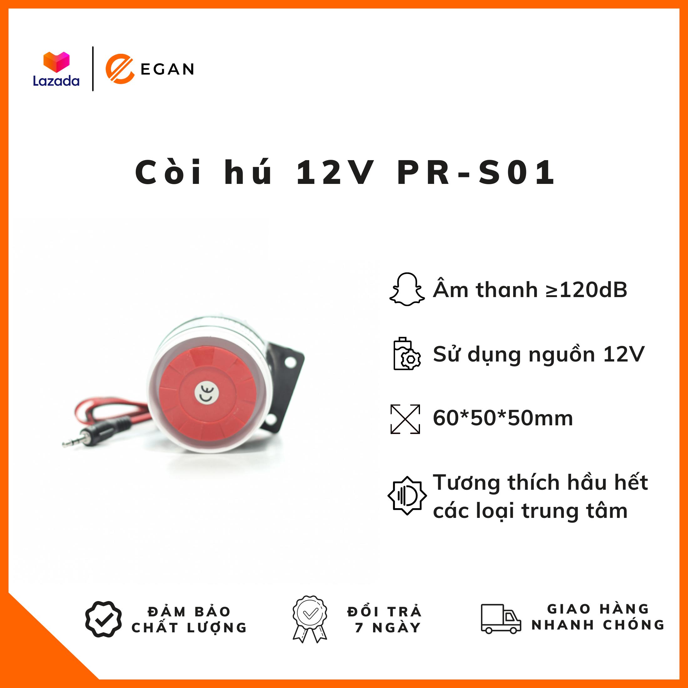 Còi hú chống trộm 12V PR-S01 – Âm báo ≥ 120Db, sử dụng nguồn 12V, tương thích hầu hết các loại trung tâm, kích thước 60*50*50mm