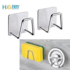 Combo 2 Móc treo đồ dùng rửa chén Inox SUS304 dán tường gạch men hoặc bồn rửa chén – Kệ đựng miếng rửa chén, chùi xoang, nắp bồn rửa – HOBBY MCX-2