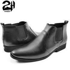 Giày nam Boots cổ lửng phối thun da bò nguyên tấm SHOES 2H size 38-43, Đen 2H-19