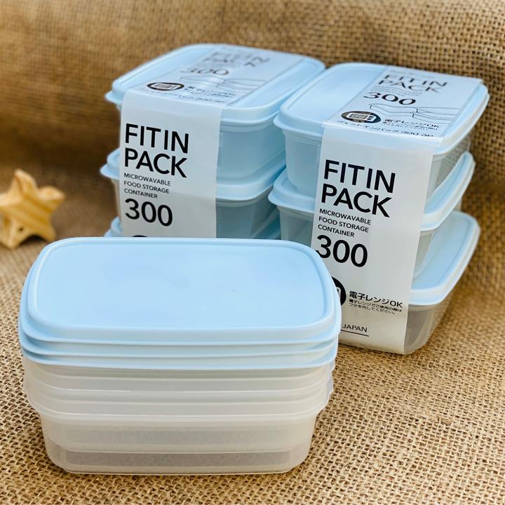 Bộ 3 hộp Hộp thực phẩm nắp dẻo Nakaya Nhật Bản (300ml x 3 hộp) dùng lò vi sóng
