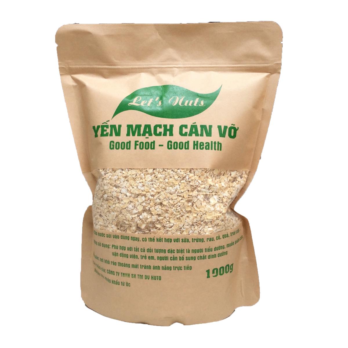 Hạt yến mạch cán vỡ Let's Nuts làm ngũ cốc giảm cân, bột yến mạch, người tập gym, bổ sung chất dinh dưỡng túi 1000g Let Nuts