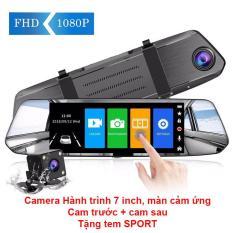 Camera hành trình gương chiếu hậu, 7 inch, cảm ứng, camera lùi, camera xe hơi
