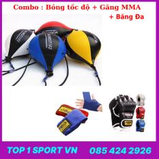 Bóng phản xạ đấm bốc boxing quyền anh hạng nặng luyện tốc độ 2 đầu dây Wubotiyu tặng Găng MMA + Băng đa cuốn tay 3M –