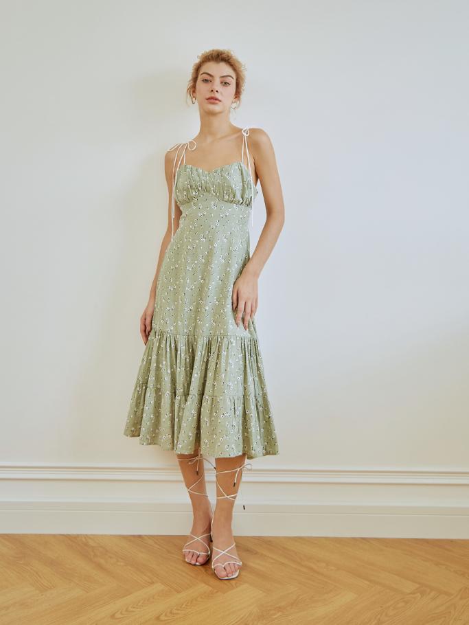 COCO SIN – Đầm 2 Dây Hoa Xanh